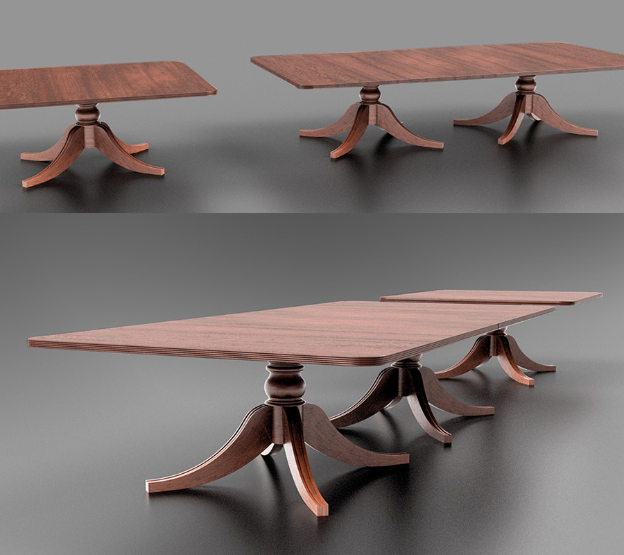 3D Modelling of bespoke dining table