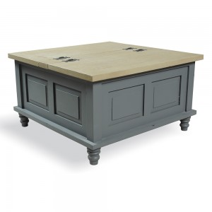 square coffee table trunk farmhouse storm grey