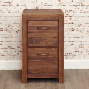 2 Drawer Walnut Filing Cabinet