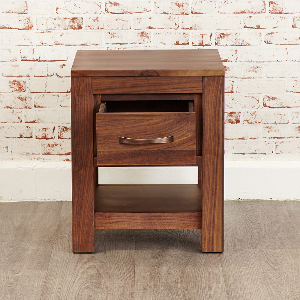 Inadam furniture 1 drawer lamp table modern living solid walnut 1 drawer walnut lamp table aloadofball Images