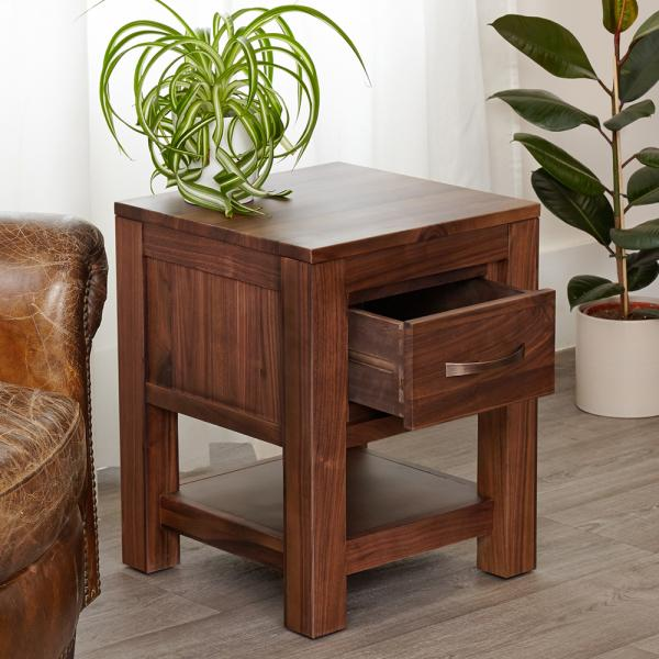1 Drawer Walnut Lamp Table
