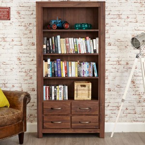 4 Drawer Tall Walnut Bookcase