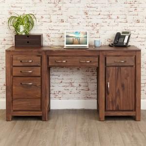 Walnut Twin Pedestal Computer Desk