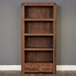 2 Drawer Walnut Bookcase