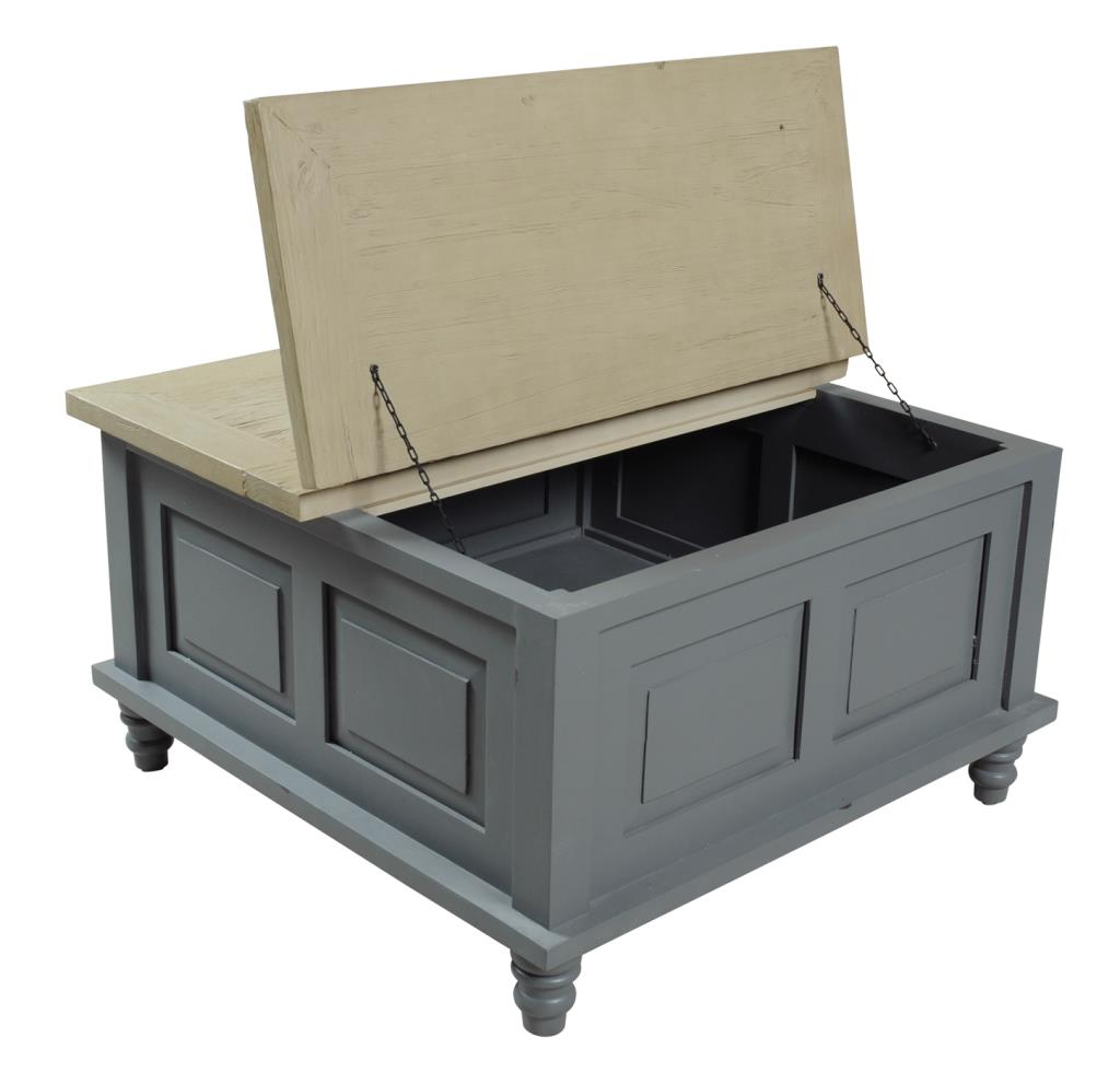 Inadam Furniture Square Coffee Table Storage Trunk Chic Dark Grey Painted Furniture Inadam