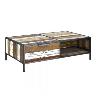 Boatwood Coffee Table with 2 Drawers 120x70