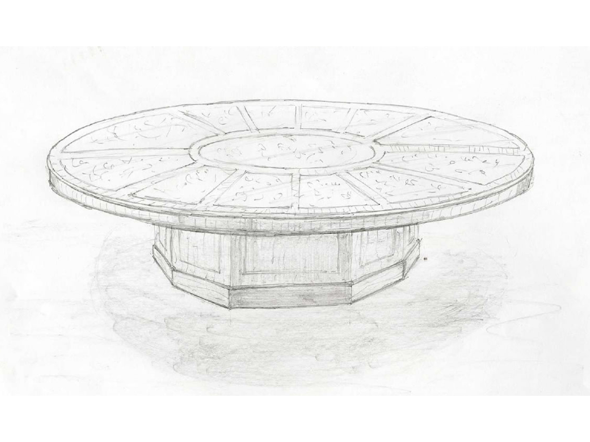 Sketch of how the bespoke conference table could look