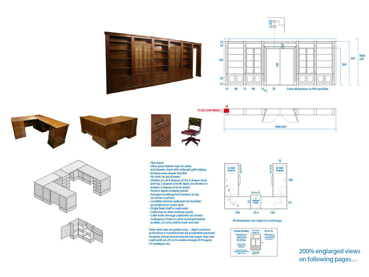 Designs for Bespoke Yew Modular Bookcases and Desk
