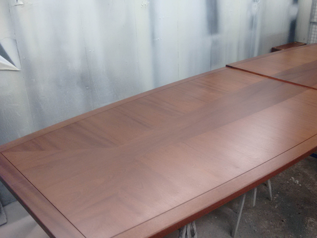 Polishing of bespoke conference table