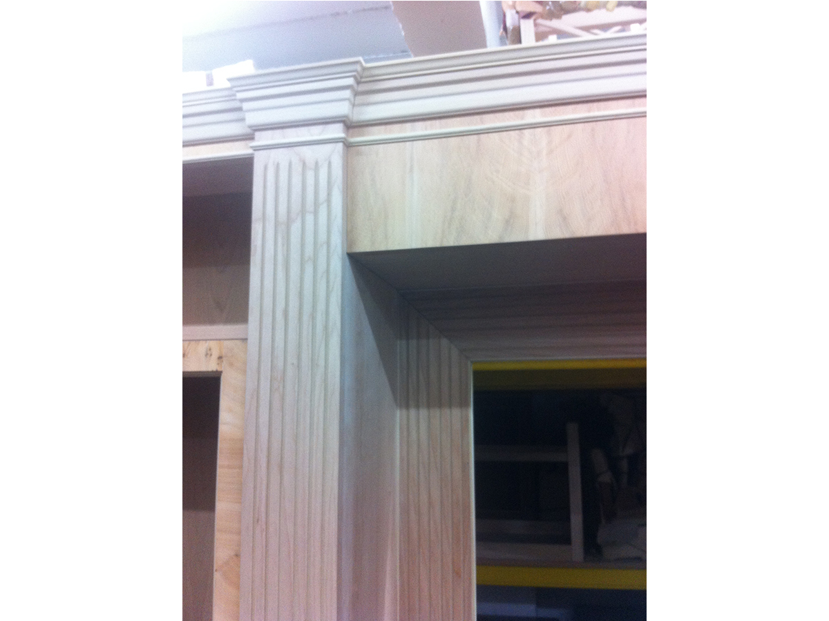 Modular Bookcase Moldings on the Columns