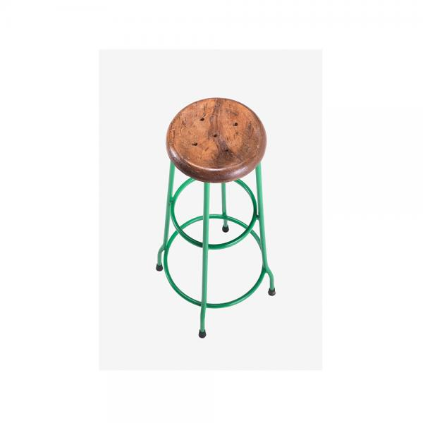 Metal and Wood Bar Stool B