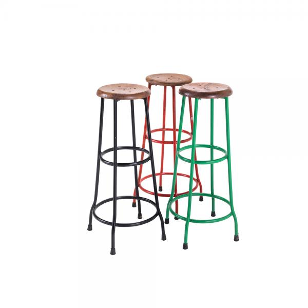 Metal and Wood Bar Stool E