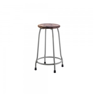 Small Metal and Wood Round Stool