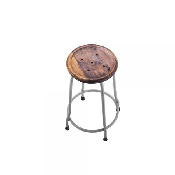Small Metal and Wood Round Stool A