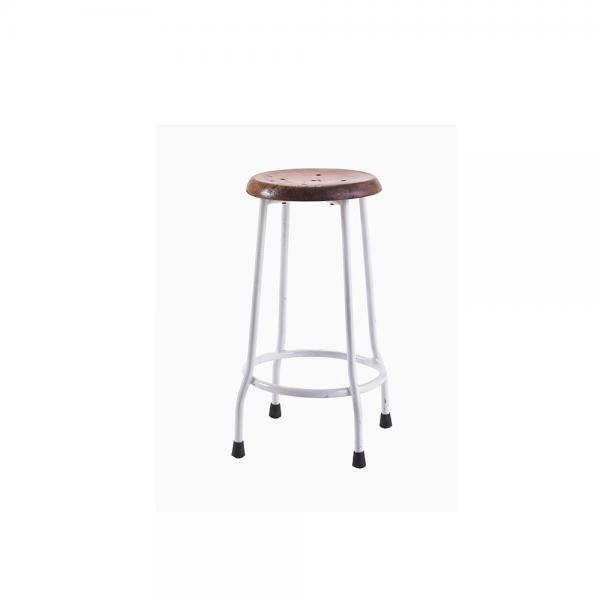 Small Metal and Wood Round Stool B