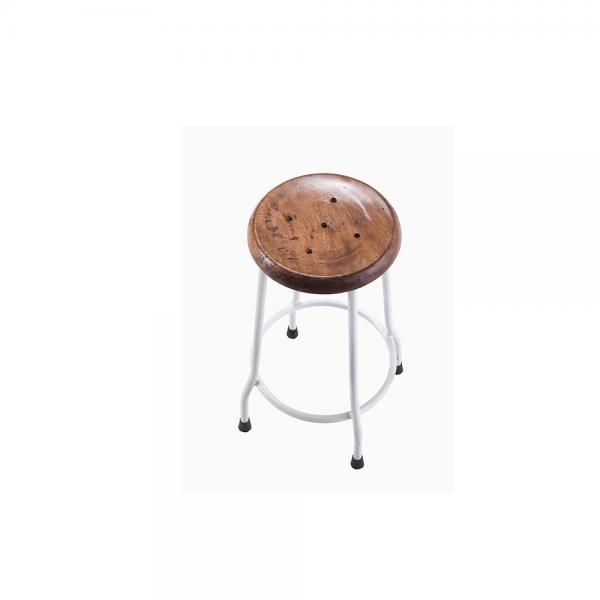 Small Metal and Wood Round Stool C