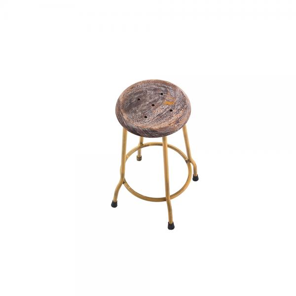 Small Metal and Wood Round Stool E