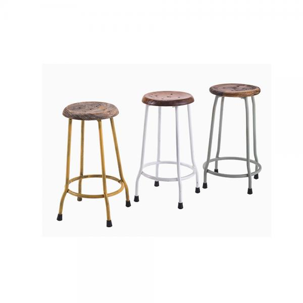 Small Metal and Wood Round Stool F