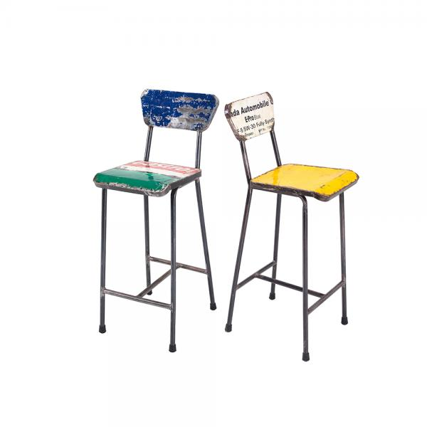 Metal Bar Stool with Back D