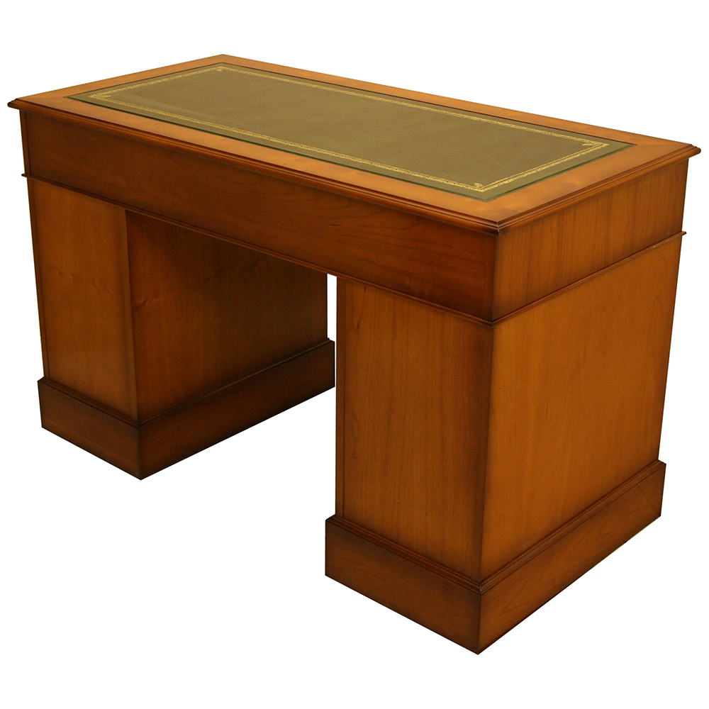 Inadam furniture 4 39 x2 39 pedestal desk in mahogany yew for Reproduction furniture