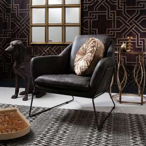 Ebony leather armchair