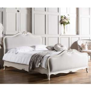 5' Linen Upholstered Bed in White