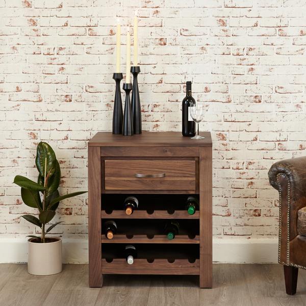 Walnut Wine Rack Lamp Table