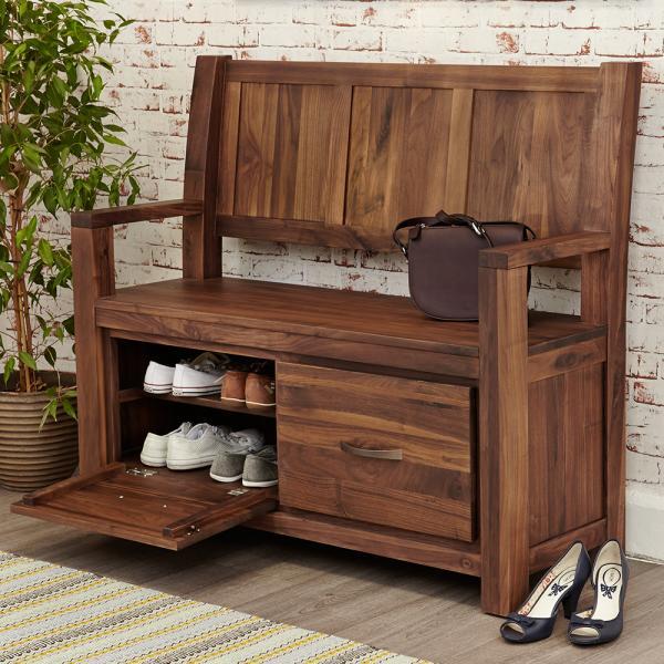 Walnut Monks Bench With Shoe Storage