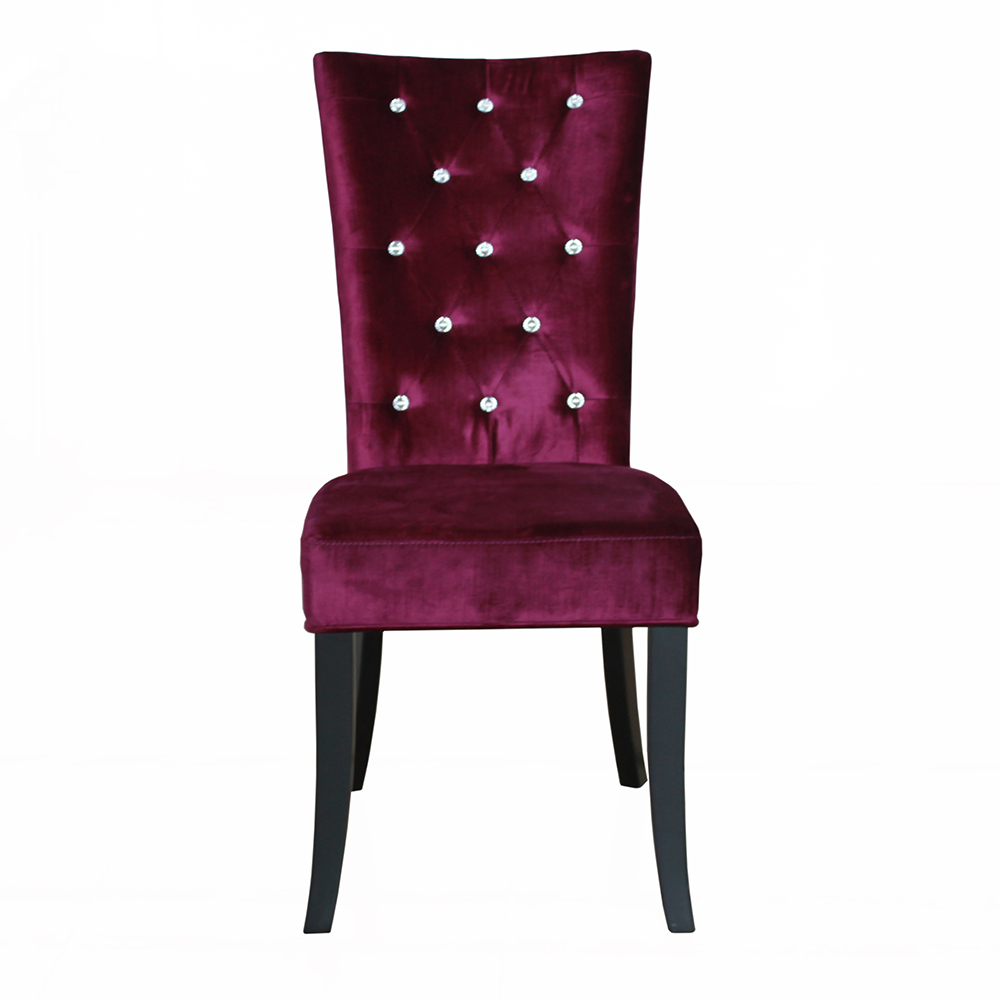 Elegance velvet chairs pack of 2 black silver purple dining chair collection