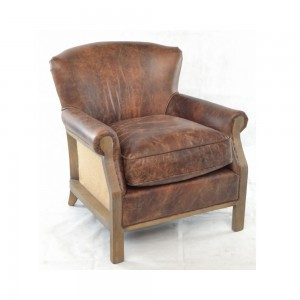 Leather and Hessian Armchair