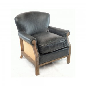 Charcoal Leather and Hessian Armchair