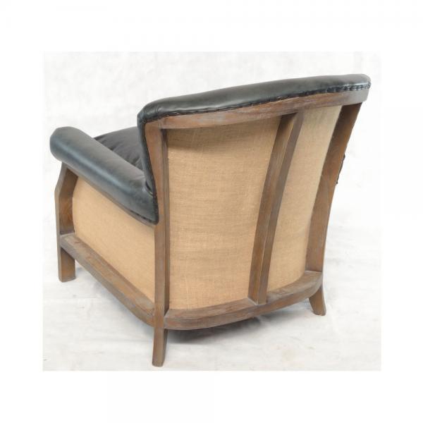 Charcoal Leather and Hessian ArmchairCharcoal Leather and Hessian Armchair