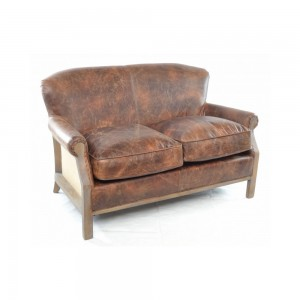 Aged Leather and Hessoam Sofa