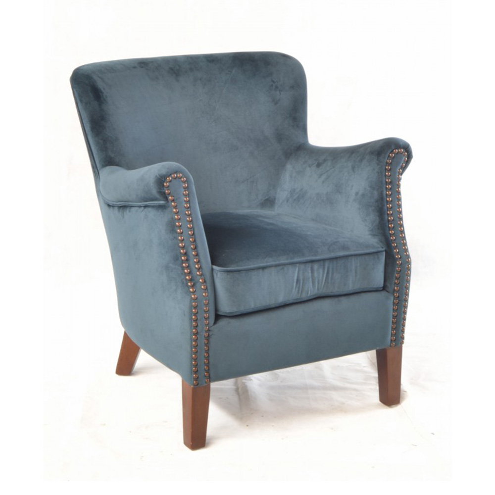 Inadam Furniture Blue Velvet Armchair Fabric Chair