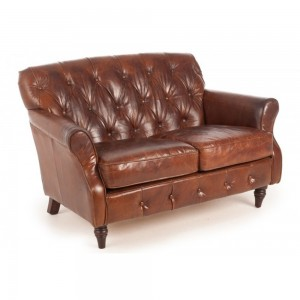 Buttoned Back Leather Sofa