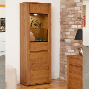 Dark Oak Tall Display Cabinet