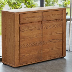 Dark Oak Large Glazed Sideboard
