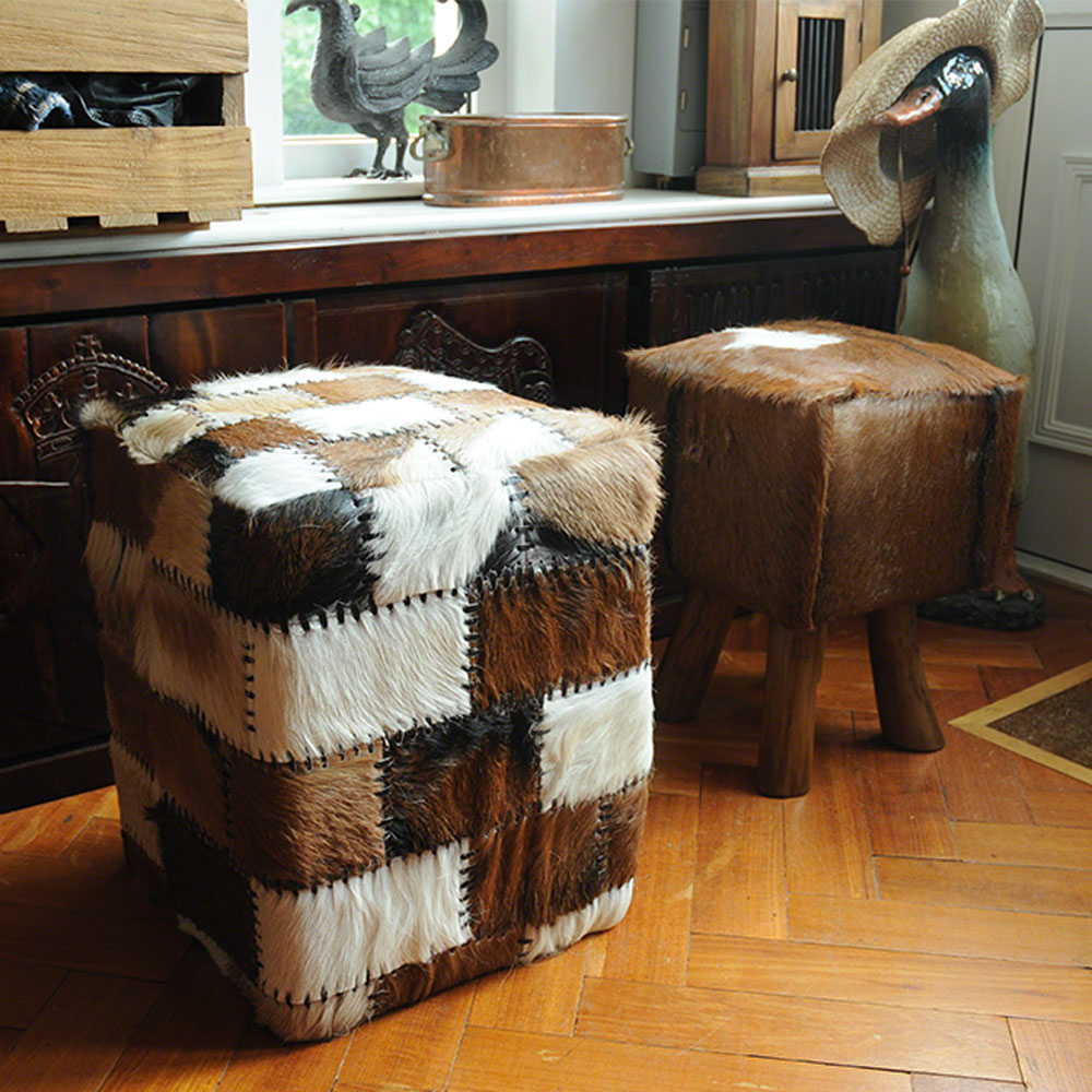 Inadam furniture square stool from the cow hide furniture collection