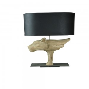 Wooden Dog Table Lamp