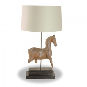 Brown Wooden Horse Table Lamp