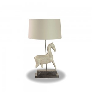 White Wooden Horse Table Lamp
