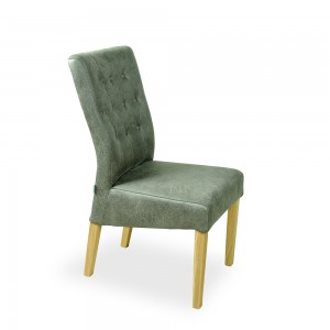 Buttoned Dining Chair Distressed Grey