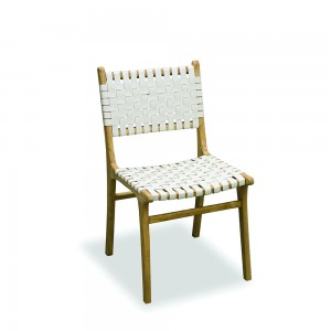 White Woven Leather Dining Chair Modern Vintage Collection