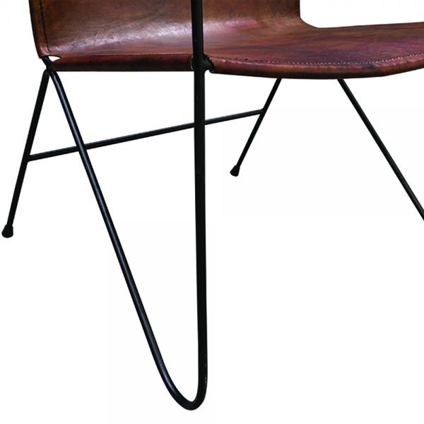 Tan Solid Leather Lazy Chair - Modern Vintage Collection