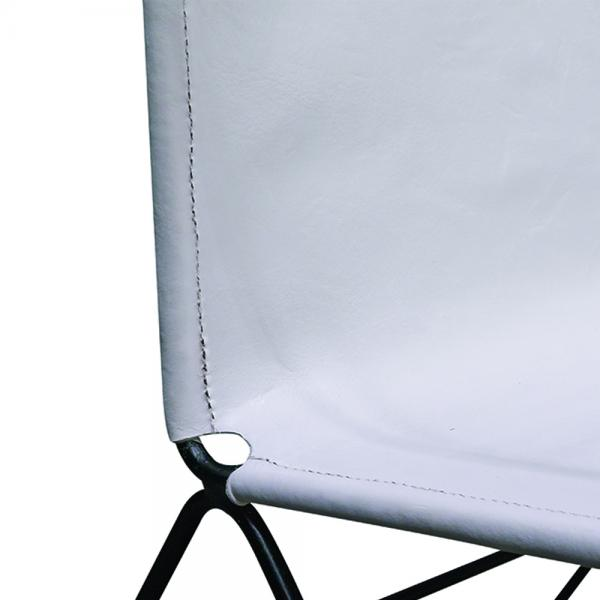 White Solid Leather Lazy Chair - Modern Vintage Collection