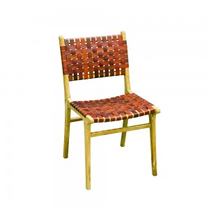 Tan Woven Leather Dining Chair - Modern Vintage Collection