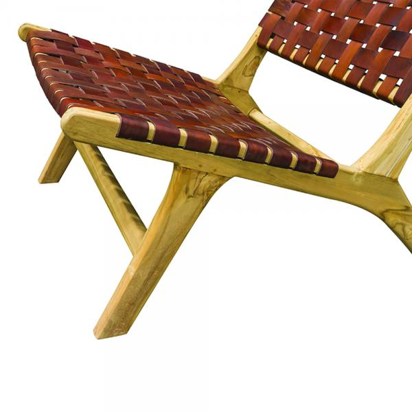 Tan Woven Leather Lazy Chair - Modern Vintage Collection