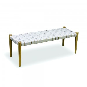 White Woven Leather Bench