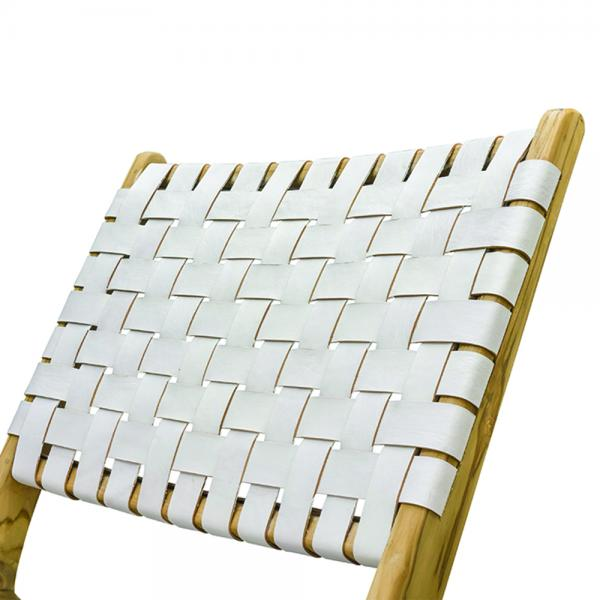 White Woven Leather Lazy Chair