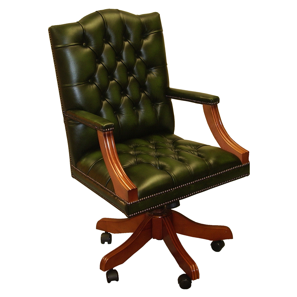 Gainsborough Swivel Desk Chair Choice Of Leather Colours Reproduction Furniture Quality Furniture Handmade Furniture Antique Reproduction Furniture Mahogany Yew Walnut Furniture